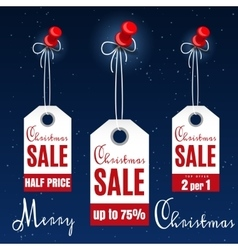 Christmas sale tags on winter backdrop vector image