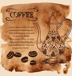 Coffee pot on a watercolor background vector image