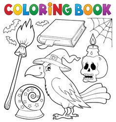 coloring book witch crow theme vector image