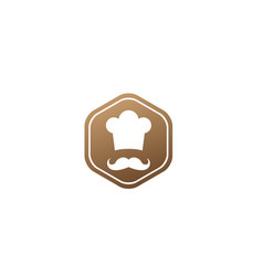 cooker with mustache smile and wear a big hat vector image