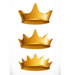 Crown gold emblem 3d icon vector