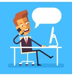 Cute businessman sitting at the desk with phone vector