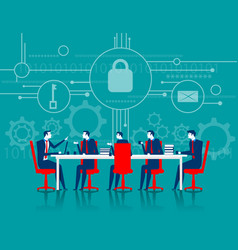 Cybersecurity business meeting security vector
