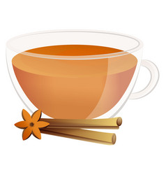 delicious natural tea with fragrant cinnamon in a vector image