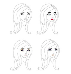 doodle portrait of a girl different make-up vector image