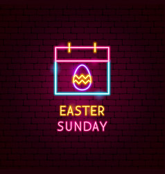 Easter sunday neon label vector