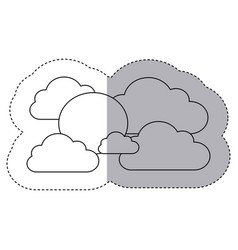 figure clouds with sun icon vector image