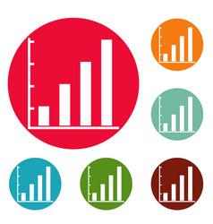 Finance chart icons circle set vector