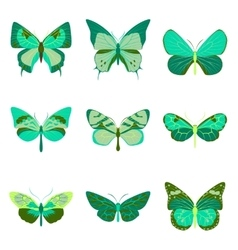 Flat icons big collection of colorful butterflies vector