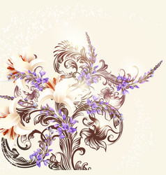floral background with flowers and ornament vector image