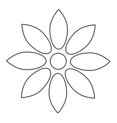 Flower black color path icon vector