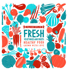 Fun hand drawn vegetables and fruits design vector