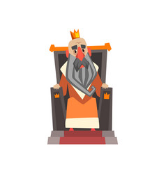 Funny king character sitting on the throne cartoon vector