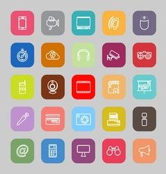 Gadget line flat icons vector