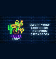 glowing neon fiesta holiday sign and alphabet vector image