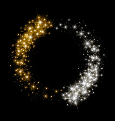 gold glittering star dust circle vector image