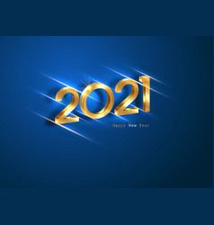 Golden 2021 new year 3d logo blue banner vip card vector