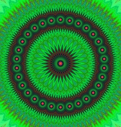 Green floral fractal mandala design background vector image