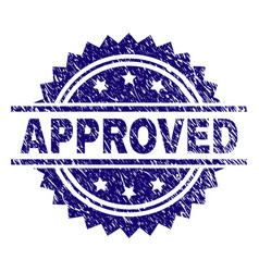 Grunge textured approved stamp seal vector