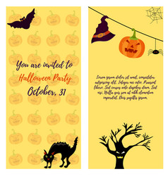 Halloween invitation card with cat ghost house vector