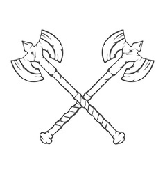 Hand Drawn Crossed Battle Axes isolated on white vector