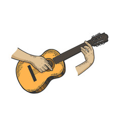 hands with acoustic guitar color sketch engraving vector image