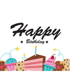 happy birthday cake cupcake white background vector image