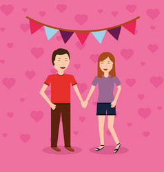Happy couple holding hands with decorative garland vector