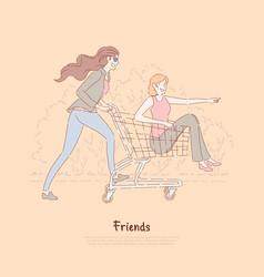 happy friends having fun women ride in vector image