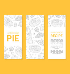 homemade pie recipe banner templates set card vector image