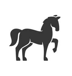 Horse black silhouette icon on white background vector