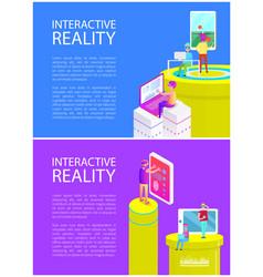 interactive virtual reality vector image