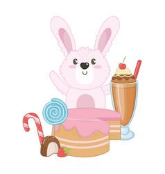 Isolated rabbit cartoon with sweet food design vector