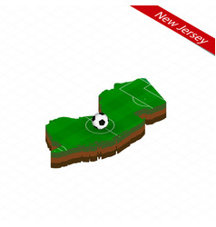 Isometric map us state new jersey with soccer vector