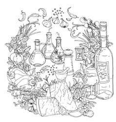 Italian cuisine for coloring book vector