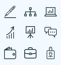 job icons line style set with pen hierarchy vector image