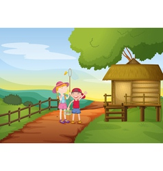 kids and house vector image