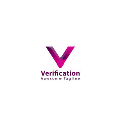 Letter v pink colour aesthetic logo design vector