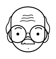 Line old man face with glasses and mustache vector