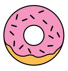 Linear glazed ring doughnut with sprinkles vector