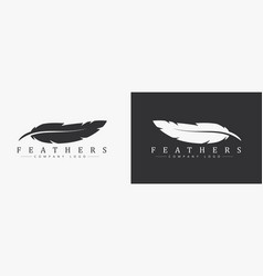 logo design with feather and company name for a vector image