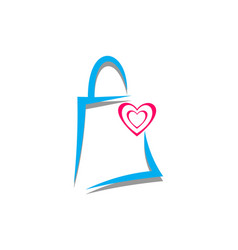 love shopping logo icon concept vector image