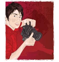 Man with camera vector