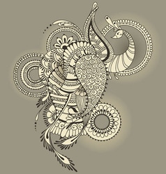 Mehndy peacock tattoo vector image