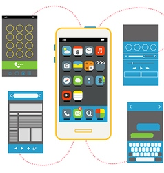 Modern smartphone with different interface vector image