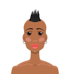 Mohawk hairstyle African-American girl vector