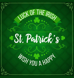 patricks day green shamrock clover irish holiday vector image