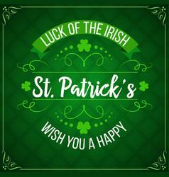 Patricks day green shamrock clover irish holiday vector