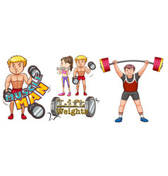 people doing weightlifting on white background vector image