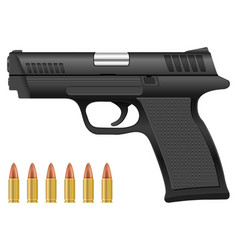 Pistol and bullets vector